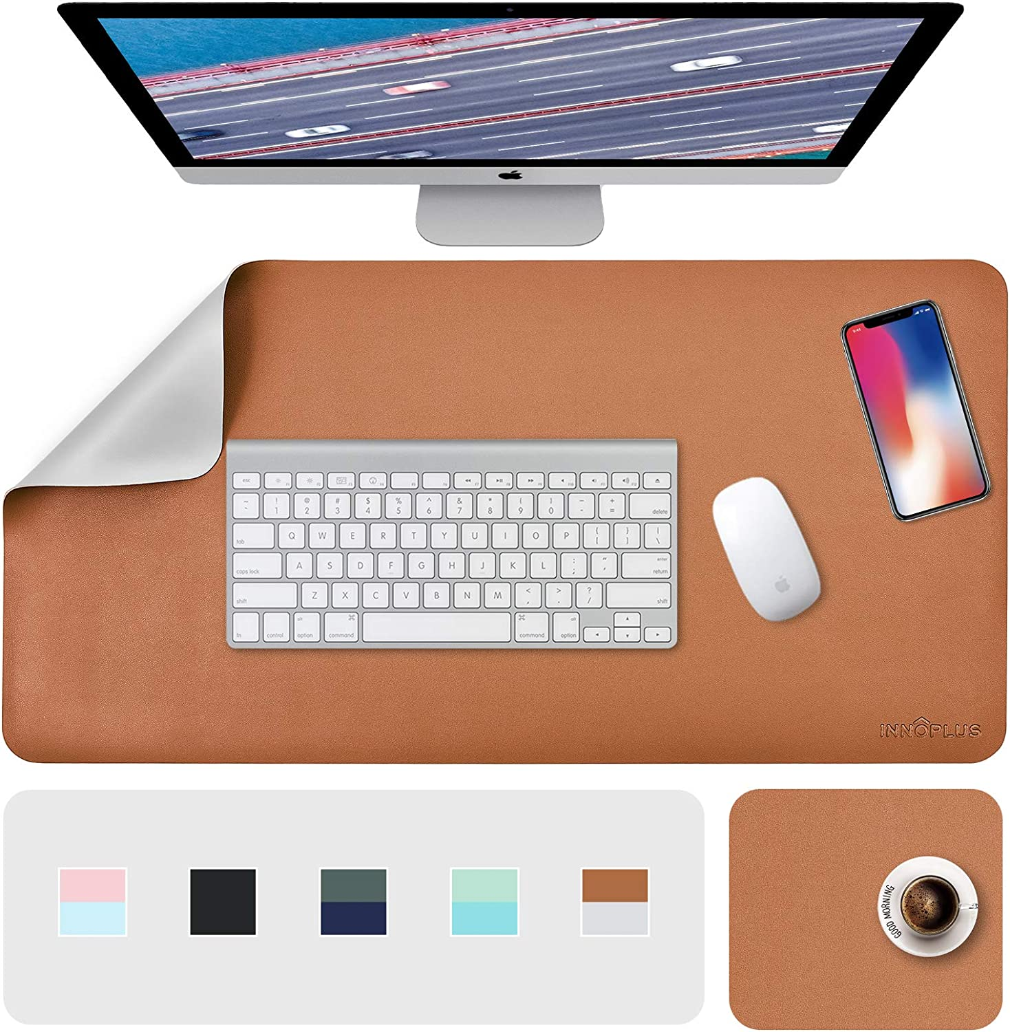 """Desk Pad, Desk Mat, Desk Blotter, Large Desk Pads Dual-Sided Brown/Gray, 31.5"""" x 15.7"""" + 8""""x11"""" PU Leather Mouse Pad 2 Pack Waterproof, desk cover for Laptop, Home Office Table Protector Blotter Gifts"""