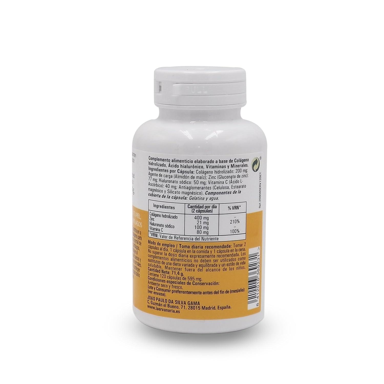 Colágeno Hidrolizado con Ácido Hialurónico, Zinc y Vitamina C .120 Cápsulas. Mejora Elasticidad Y Salud de Cartílagos, Articulaciones, Tendones y Huesos.