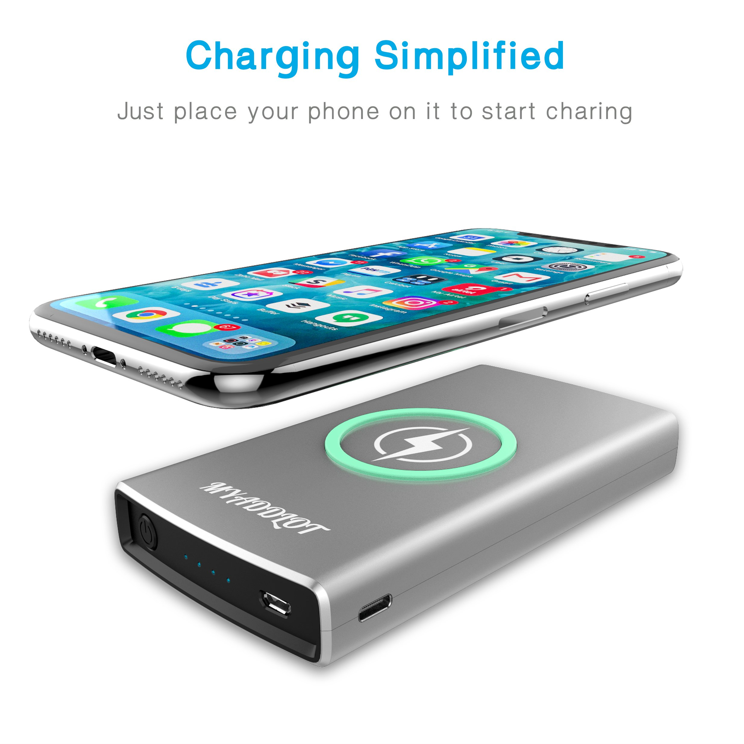 Wireless Charger Power Bank REAL 10000mAh External Battery Wireless Charging Station for iPhone X / 8 / 8 Plus Galaxy S9 / S9+ / S8 / S7 / Note 8 and Other Qi-Enabled Phones by Myaddlot(Sliver)