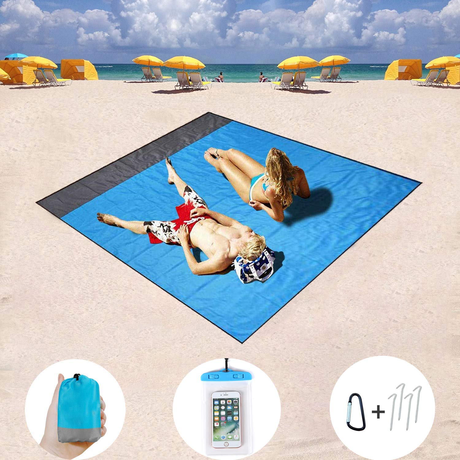 Camping Hiking and Music Festivals Leoduo Beach Blanket,Portable Quick Drying Wear Resistance Waterproof and Sand Proof Compact Pocket Blanket,Picnic Mat,Travel