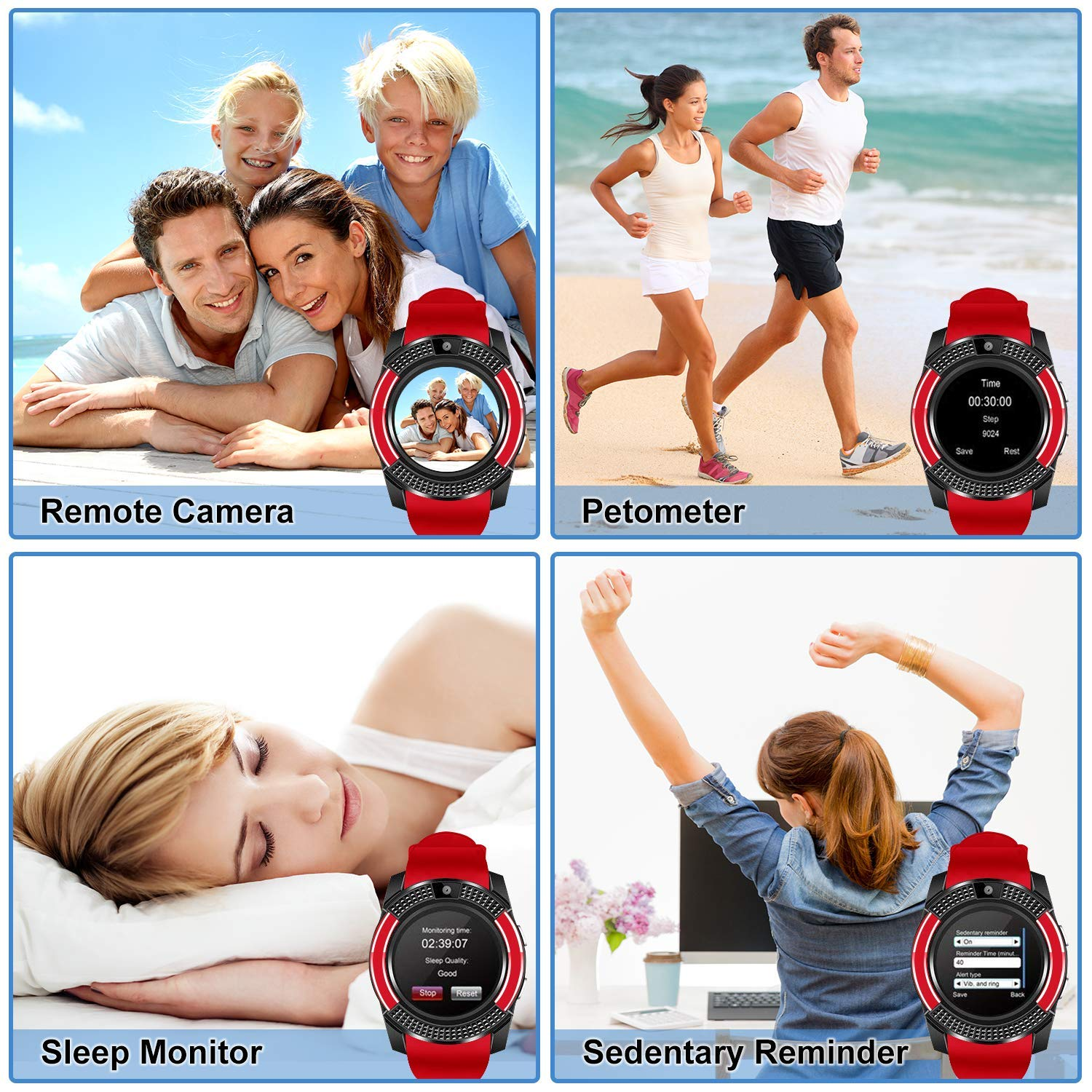 SEPVER Smartwatch Reloj Inteligente Smart Watch con Cámara Soporte ...