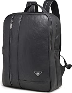 FUGUIREN Laptop Backpack for Men Leather Business Travel Laptops Backpack Ideal for Work,Outdoor,School,College,Shopping and Commuting Computer Bag for Women Fits 15.6 Inch Laptop and Notebook-Black
