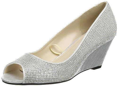 fbcaa65cdae Quiz Women s Silver Diamante Wedges Open-Toe Heels