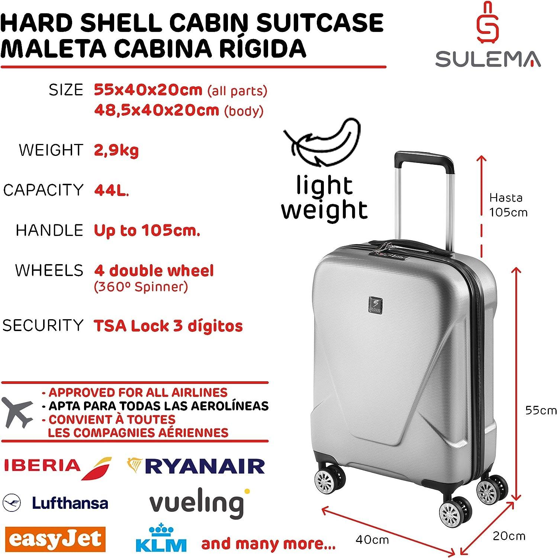 Trolley L/éger Bagage /à Main Rigide et R/ésistant en ABS avec 4 Doubles roulettes Pivotantes /à 360/º Serrure TSA Sulema Valise Cabine Ryanair 55x40x20 cm