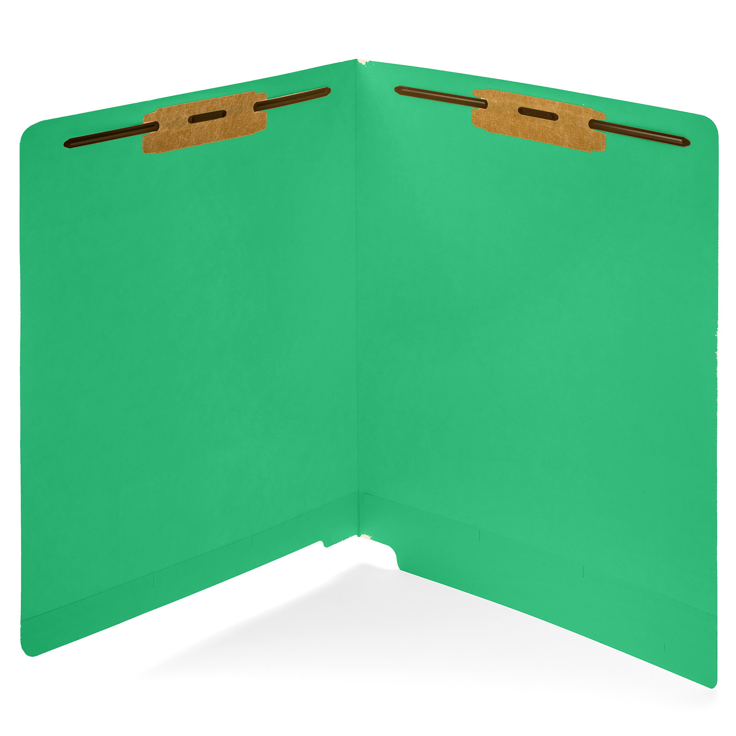 50 Green End Tab Fastener File Folders- Reinforced Straight Cut Tab- Durable 2 Prongs Designed to Organize Standard Medical Files, Receipts, Office Reports, and More - Letter Size, Green, 50 Pack
