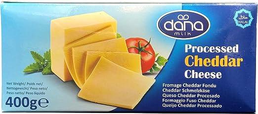 Bloque de queso Cheddar procesado Dana 400 gr   para macarrones, hamburguesas, nachos, salsas (paquete de 1)