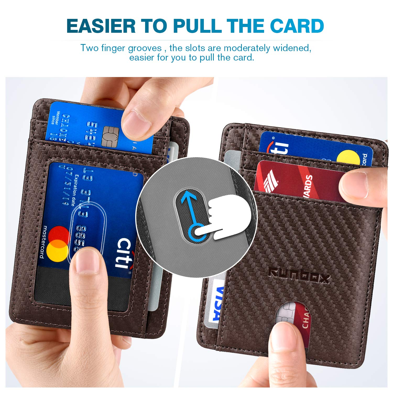 Minimalist Slim Front Pocket Wallets for Men or Women with RFID Blocking /& Genuine Leather