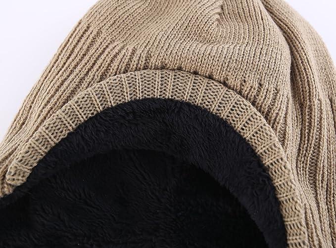 fe0c028f3f5 Decentron Toddler Boys Winter Hat Fuzzy Rib Knitted Kids Hat with Visor Earflaps  Hat Khaki  Amazon.co.uk  Clothing