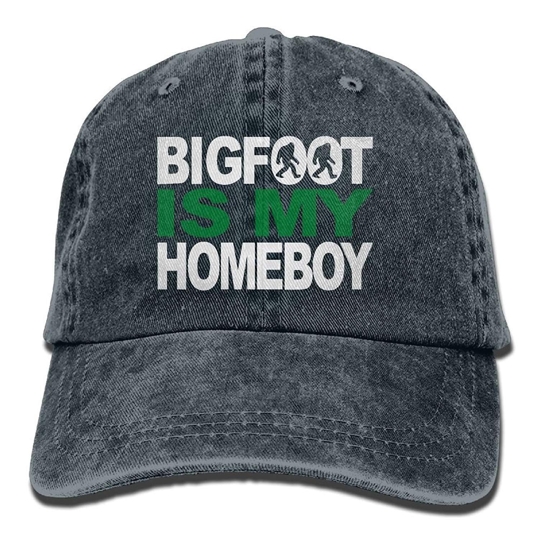 L.E Unisex Baseball Cap Bigfoot is My Homeboy Washed Denim Dad Hat for Men 0ea151d9ff4