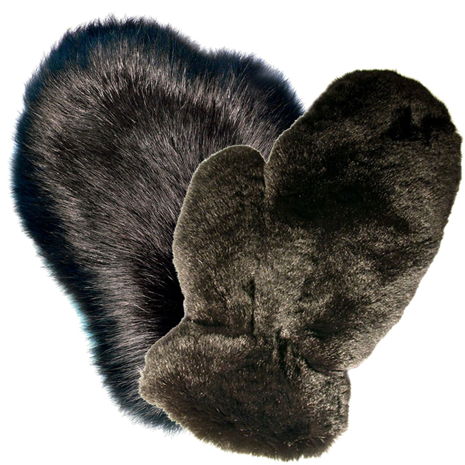 MinkgLove Combination Massage Glove, Fox and Rex Rabbit, Alternating Sensations Silky Smooth and Velvety Soft, Black, Hand Tailored, Unisex - Double Sided Fur