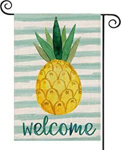 AVOIN Watercolor Stripes Pineapple Garden Flag Vertical Double Sided, Welcome Tropical Fruit Summer Flag Yard Outdoor Decoration 12.5 x 18 Inch