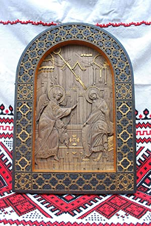 Annunciation Dark Icon Durable Unique christian gift Wood Carved religious wall plaque FREE ENGRAVING FREE SHIPPING