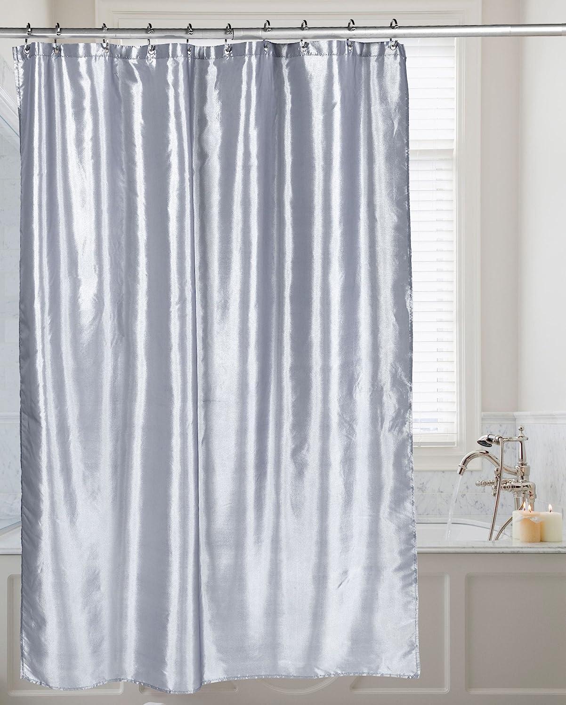 Carnation Home Fashions FSC15-FS/65 Shimmer Faux Silk Shower Curtain, Pewter