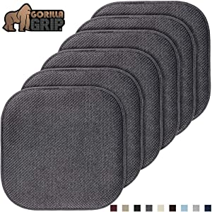 Gorilla Grip Original Premium Memory Foam Chair Cushions, 6 Pack, 16x16 Inch, Thick Comfortable Seat Cushion Pad, Large Size, Slip Resistant, Durable Soft Mat Pads for Office, Kitchen Chairs, Gray