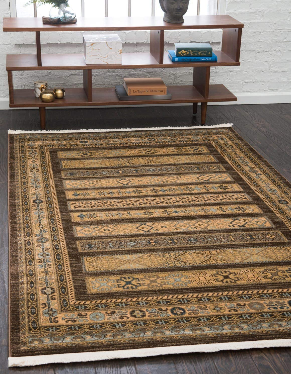 Unique Loom Fars Collection Tribal Modern Casual Brown Area Rug 5 0 x 8 0
