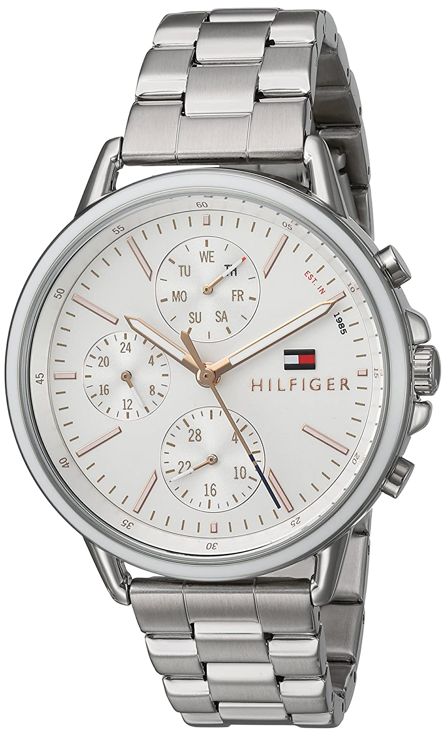ef62a16c Amazon.com: Tommy Hilfiger Women's Casual Sport Quartz Watch with Stainless-Steel  Strap, Silver, 18 (Model: 1781787): Watches