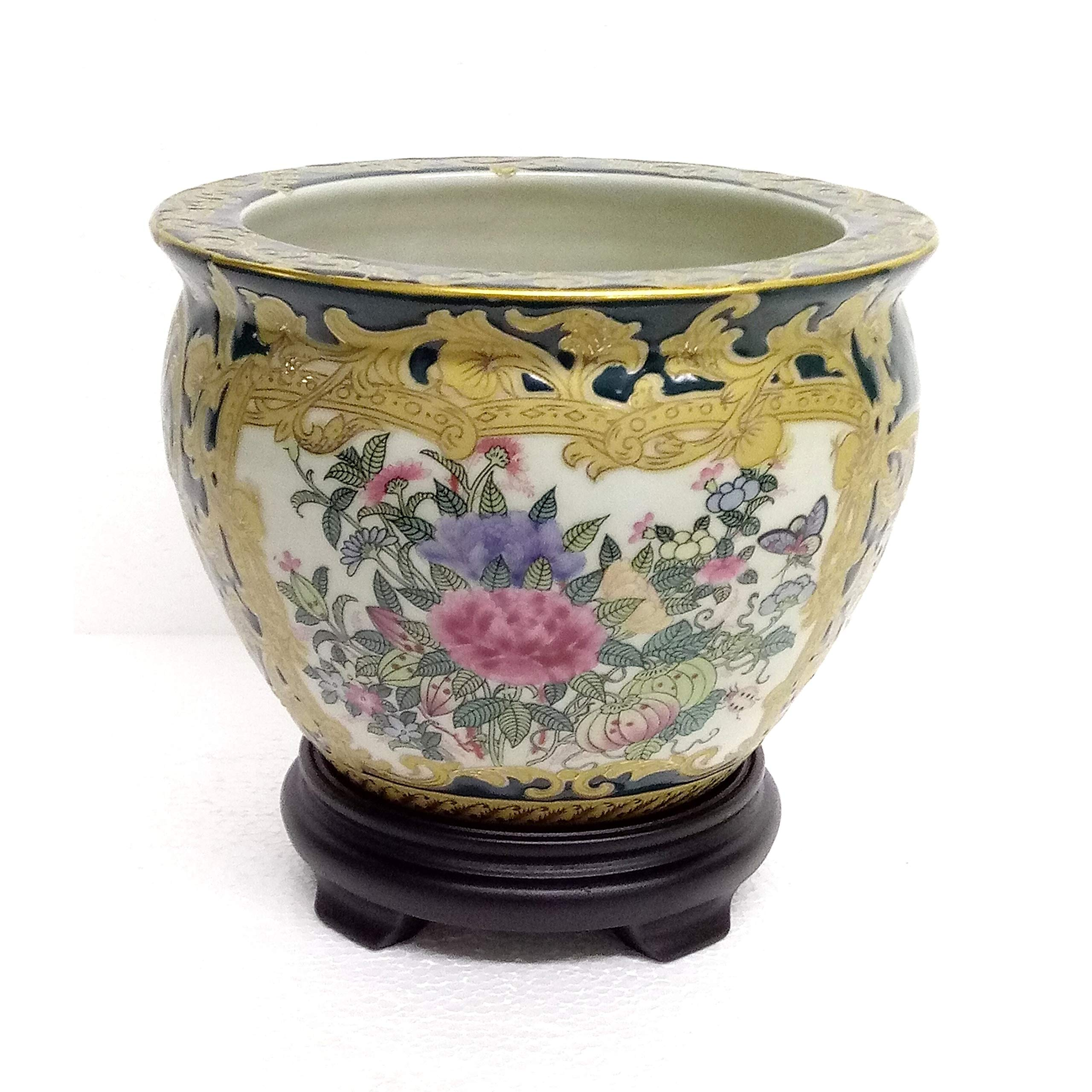 Rose Medallon Green Gold Scroll 6'' Fishbowl W/Stand Porcelain by Unknown