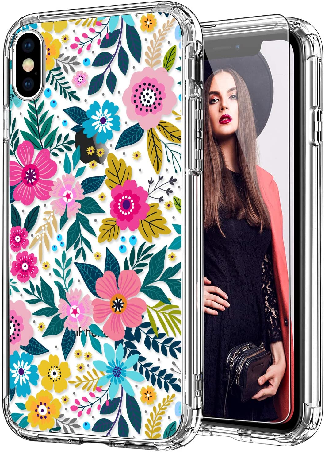 ICEDIO iPhone Xs Max Case with Screen Protector,Clear with Colorful Blooming Floral Flower Patterns for Girls Women,Shockproof Slim Fit TPU Cover Protective Phone Case for iPhone Xs Max