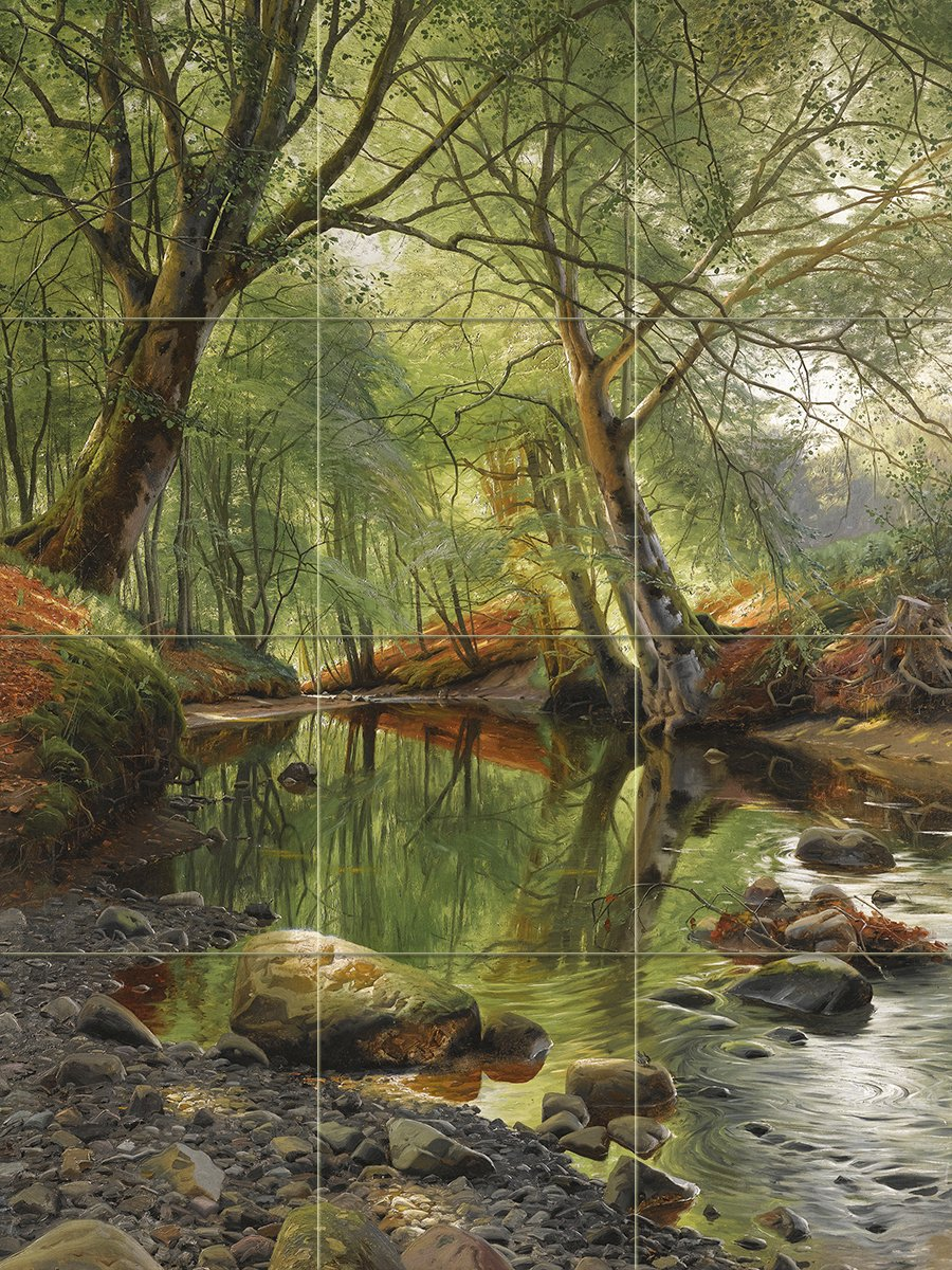 WOODLAND STREAM by Peder Monsted forest trees water stone Tile Mural Kitchen Bathroom Wall Backsplash Behind Stove Range Sink Splashback 3x4 6'' Rialto by FlekmanArt