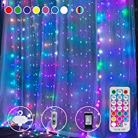 Brightown Curtain Lights 8 Color 9.8X9.8 Feet 300 LED 11 Lighting Modes with Remote Control USB Adapter Hanging String…