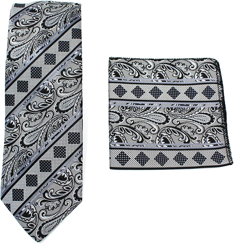 ALLEN Paisley Tie Handkerchief Woven Classic Mens Necktie /& Pocket Square Set C