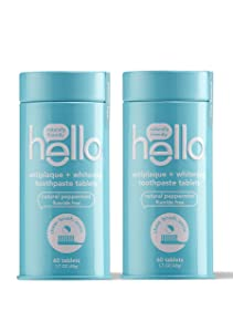 Hello Antiplaque + Whitening Toothpaste Tablets with Natural Peppermint, Fluoride Free, Travel Friendly, 60 Count, Pack of 2