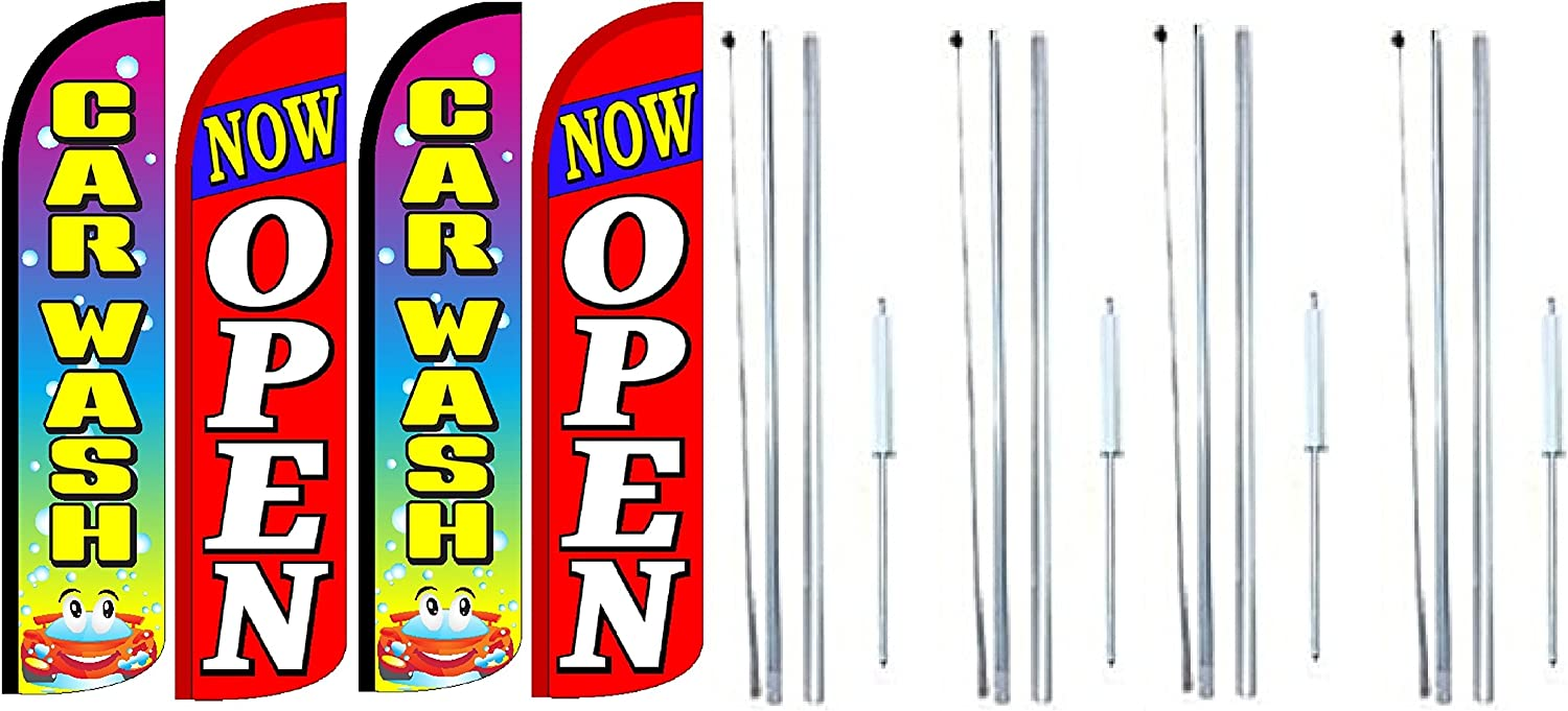 CAR WASH Now Open King Windless Feather Flag Sign Kit with Complete Hybrid Pole Set Pack of 4