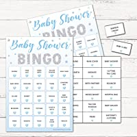 Baby Shower Bingo - Baby Shower Party Game for up to 20 Players - BLUE STARS
