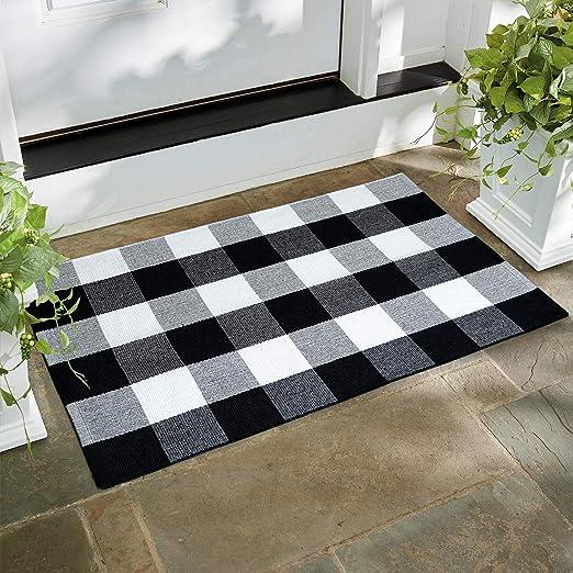 100% algodón de cuadros alfombra hecha a mano alfombra lavable a ...