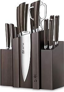 Cangshan A Series 1022285 German Steel Forged DENALI Magnetic Knife Block Set, Walnut