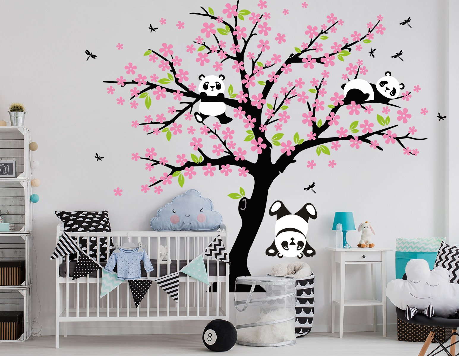 LUCKKYY Three Playful Pandas Bear On Cherry Blossom Tree Wall Decal Tree  Wall Sticker Nursery And Childrenu0027s Room (pink)