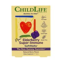 ChildLife Essentials Elderberry Super-Immune SoftMelts - for Infants, Babies, Kids, Toddlers, Children, and Teenagers - Natural Berry Flavor - 27 Tablets