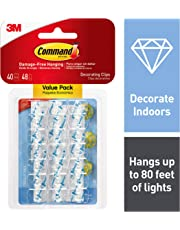 Command 17026CLR-VP 07322001011 3M Decorating Clips, 40 Clips Clear 40 Clips