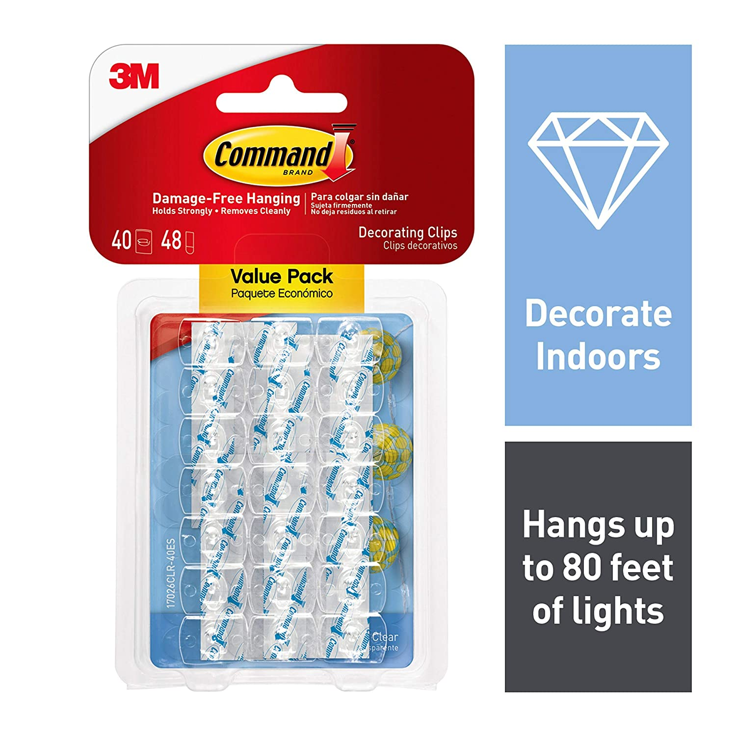 Command by 3M Dorm Light Clips, Clear, Great for Hanging String Lights, Hangs up to 80 feet of lights