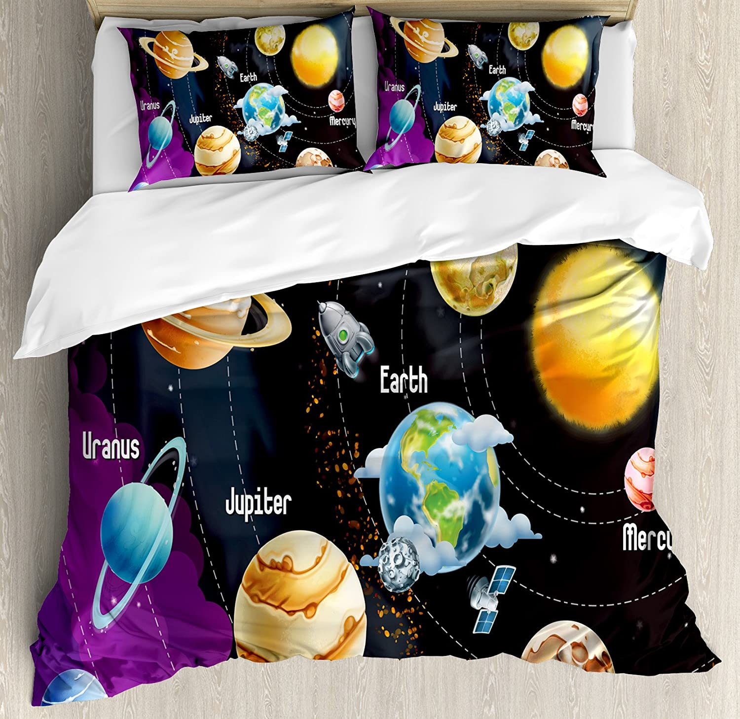 Ambesonne Outer Space Duvet Cover Set, Solar System of Planets Milky Way Neptune Venus Mercury Sphere Illustration, Decorative 3 Piece Bedding Set with 2 Pillow Shams, Queen Size, Black Purple