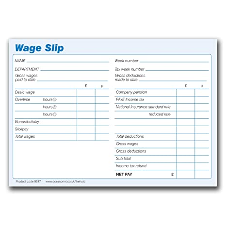 Wage Slips Pad NEW 100 sheets per pad 148 x 105mm Pack of 5 – Wages Slip
