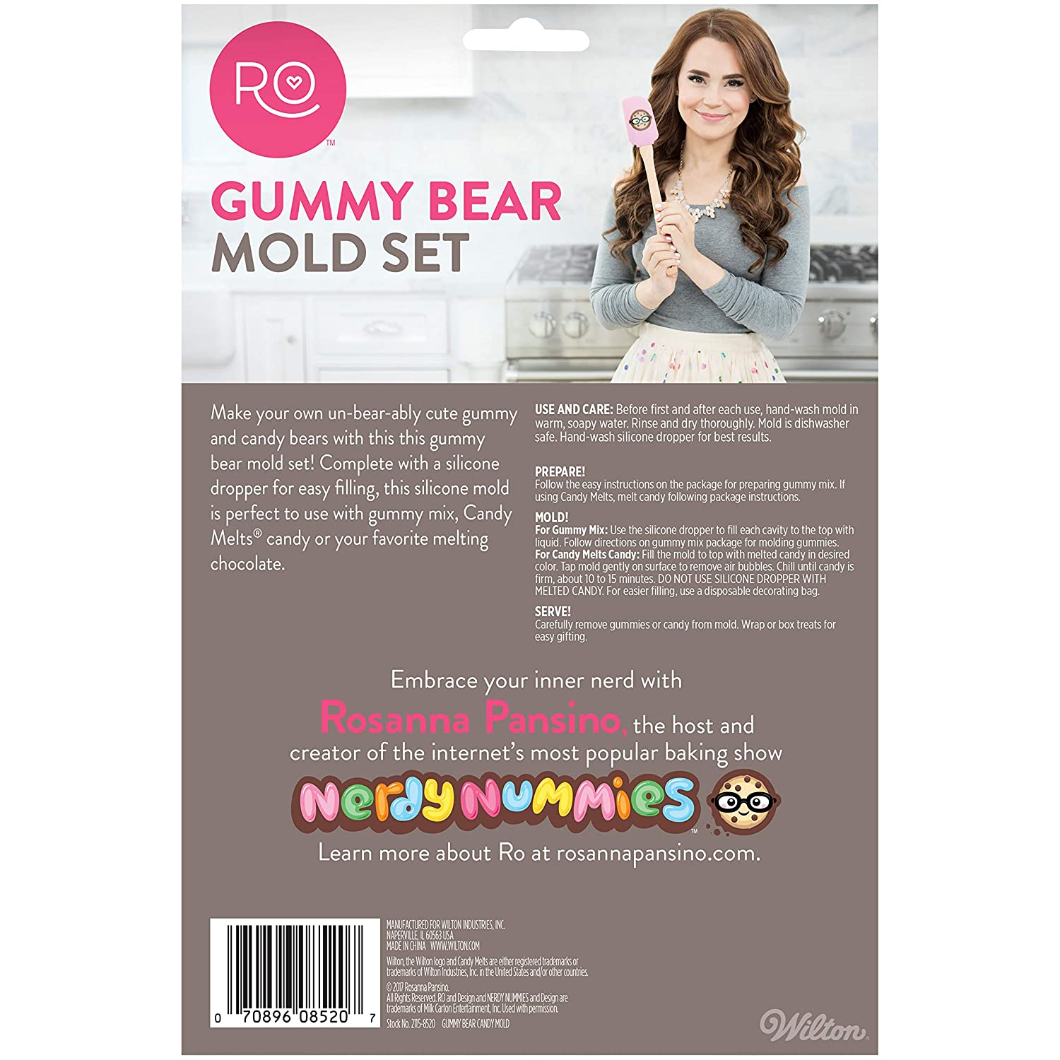 Amazon.com: ROSANNA PANSINO by Wilton 2-Piece 45-Cavity Silicone Gummy Bear Candy Molds, Multi-pack of 2: Kitchen & Dining