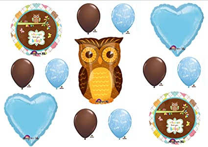 Amazoncom Baby Boy Owl Look Whooo Shower Balloons Decorations