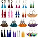 20-Pairs YRYM HT Colorful Bohemian Long Layered Fringe Earrings Set