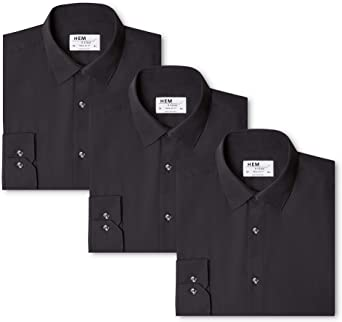 Marca Amazon - Hem & Seam Camisa Lisa Regular Fit Hombre, Pack de 3: Amazon.es: Ropa y accesorios