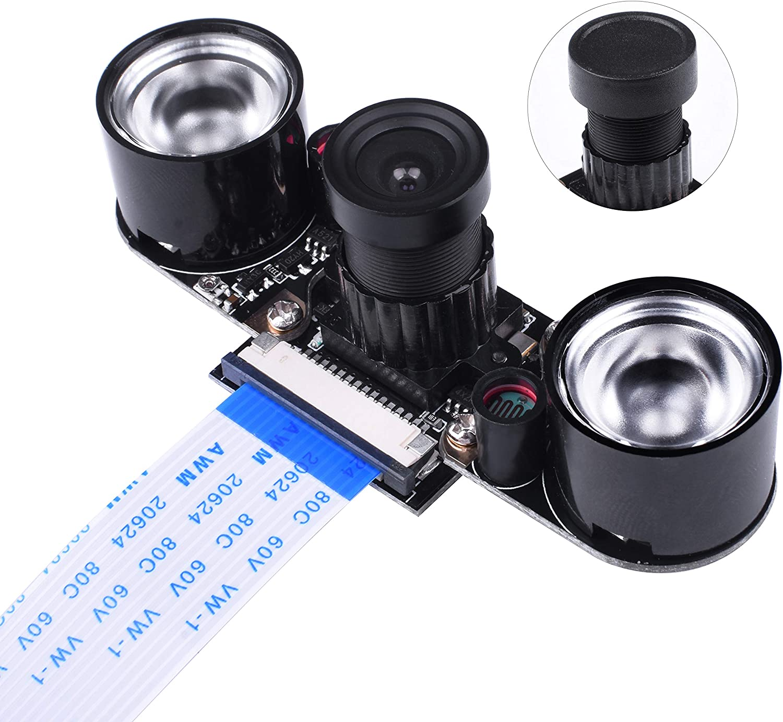 Kuman Raspberry Pi Camera Module 5MP 1080P Ov5647 Sensor HD Video Webcam Supports Night Vision SC15, Black
