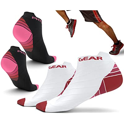 b680a3e6 Physix Gear Sport Compression Running Socks for Men & Women - Best Athletic  Low Cut Socks