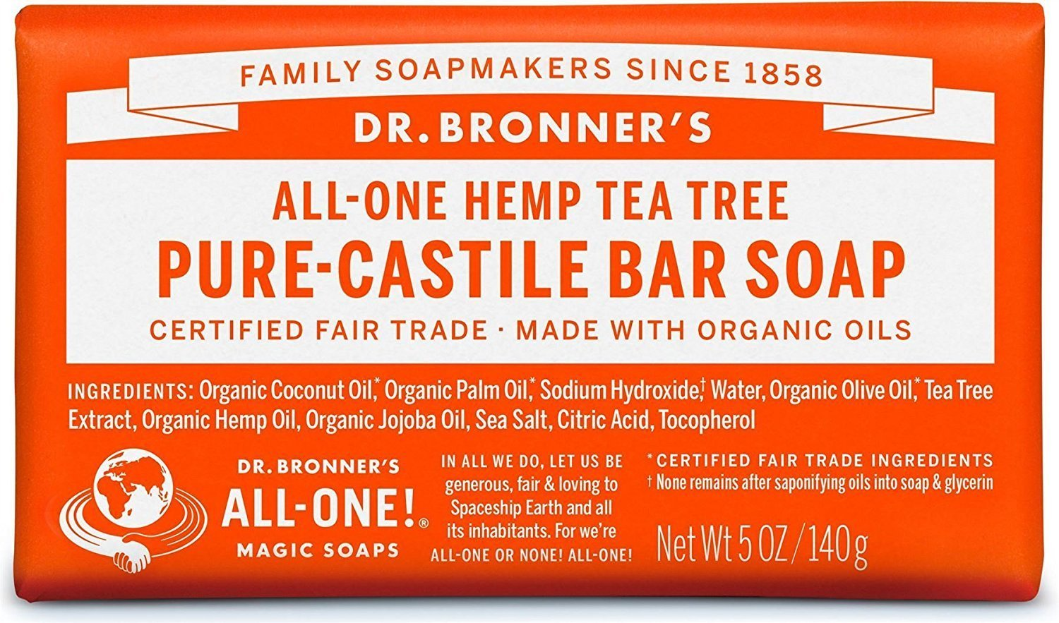 Dr. Bronner's Magic Soap Tea Tree Bar Soap, 140-Gram Dr. Bronner' s Magic Soap 734