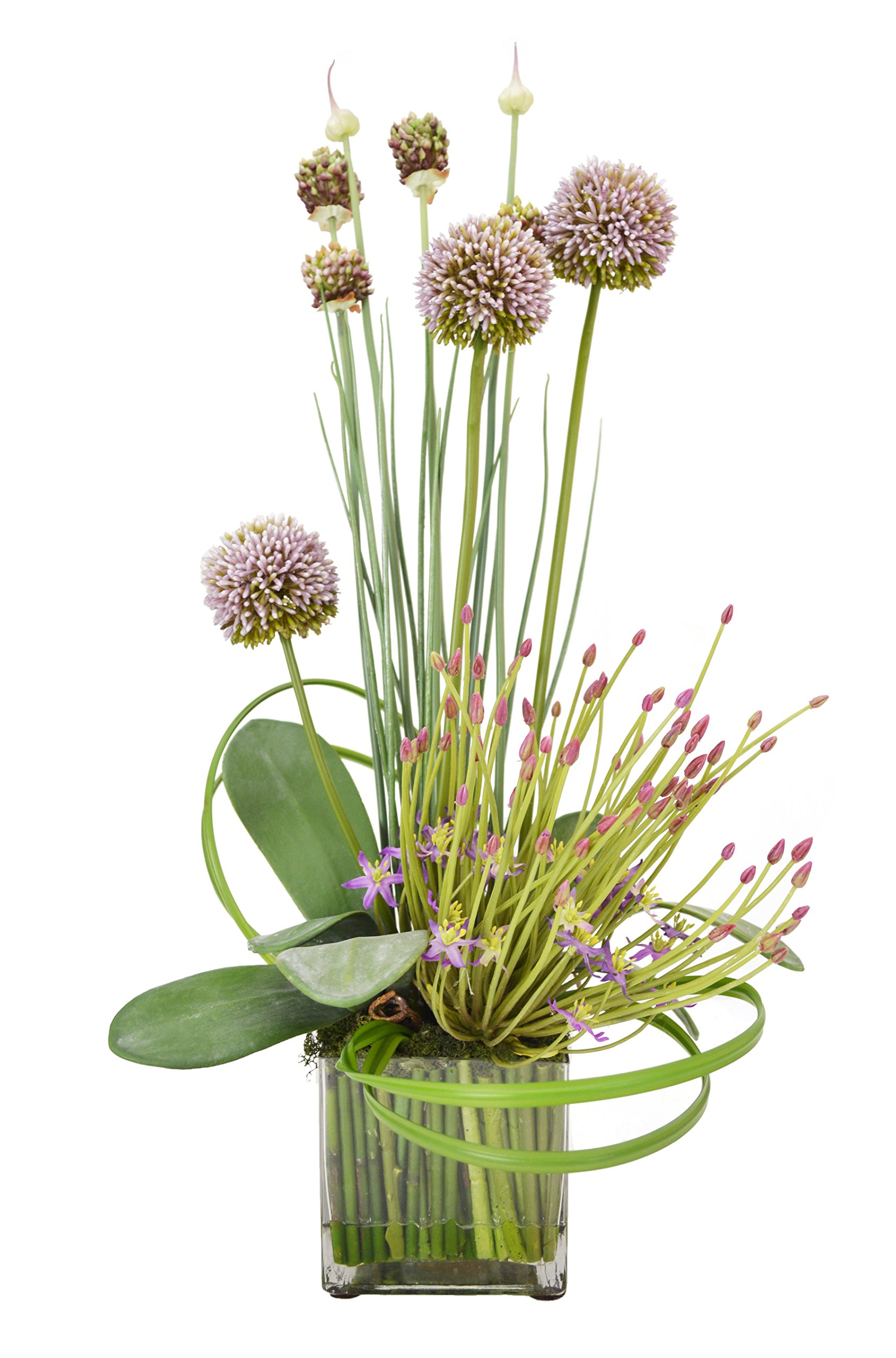 Creative-Displays-Mauve-Thistle-with-Budding-Lavender-Allium-in-Square-Vase-Accented-with-Green-Sticks-in-Acrylic-Water