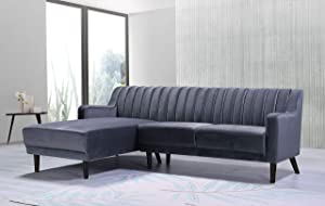 Container Furniture Direct Liberty Mid Century Velvet Upholstered Left Facing Sleeper Sectional, 89.36