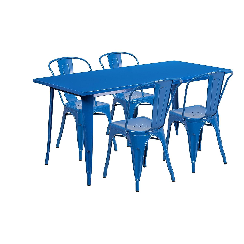 Amazon.com: Flash Furniture 31.5\'\' x 63\'\' Rectangular Silver Metal ...