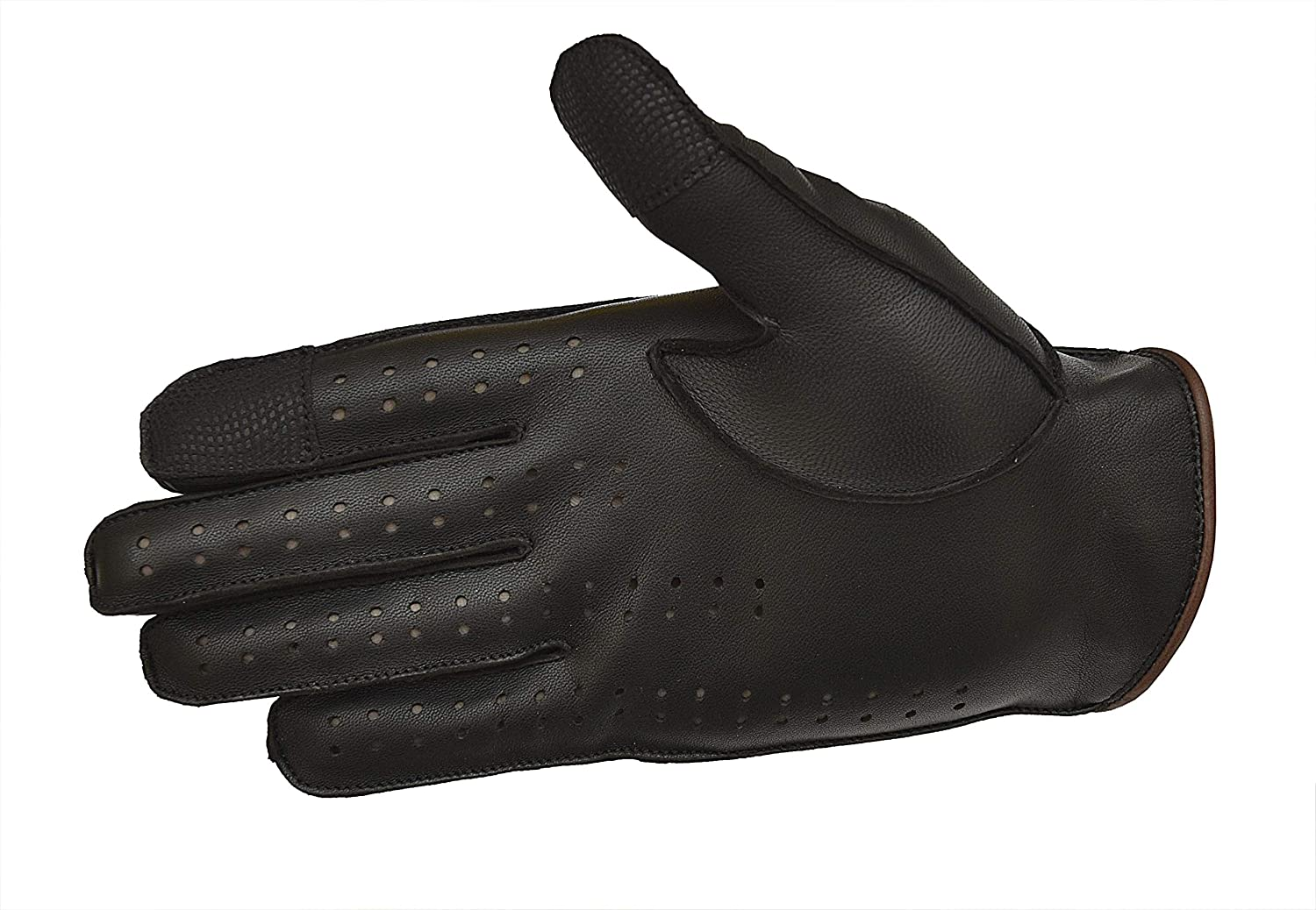 Black//Brown, Medium Men Genuine Leather Driving Texting Touch Screen Unlined Knuckle Holes Gloves