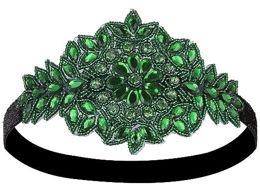 Vijiv mujer Art Deco de 1920 aleta diadema Celada un tamaño verde   Amazon.es  Ropa y accesorios 9be41760854