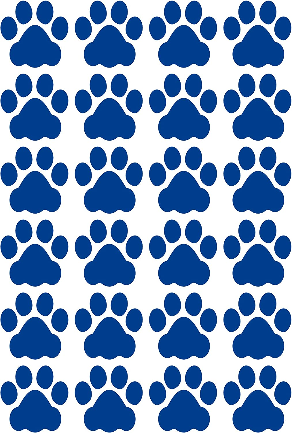LiteMark Durable 3 Inch Dog Paw Print Decals | Great for Floors, Ceilings, Walls, Laptops, and Most Smooth Surfaces | Gloss Finish Blue (Pack of 24 Paw Prints)