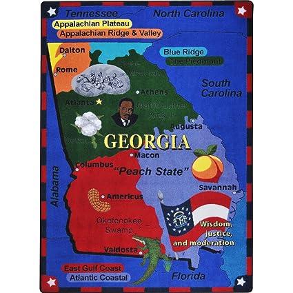 Georgia Map For Kids.Amazon Com Educational State The Facts Georgia Kids Rug Rug Size